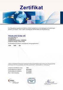 Zertifikat zur Präqualifizierung 2021